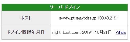 競艇予想サイトナイトボートNIGHT BOAT悪質悪徳稼げないIPアドレスドメイン取得日-
