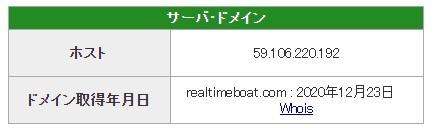 競艇予想サイトリアルタイムボートREALTIME BOAT悪質悪徳稼げないIPアドレスドメイン取得日-